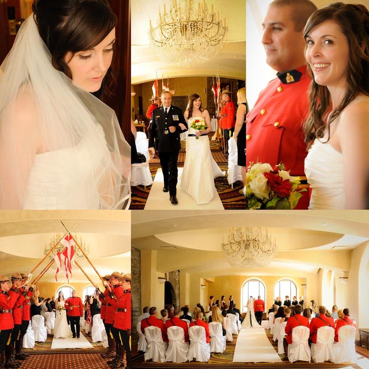 Canadian Okanagan Wedding Banff Fairmont Hotel Alberta Canada. RCMP, Red, Blue, White Wedding.