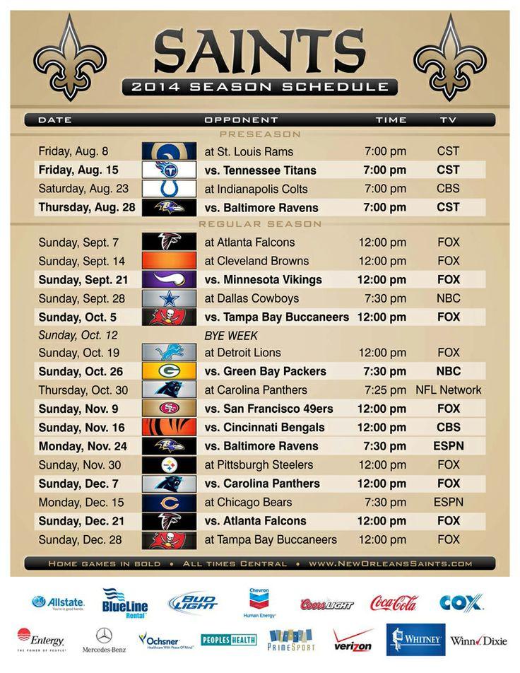 2014 New Orleans Saints Schedule! Click the photo for a PDF: http://www.neworleanssaints.com/assets/2014_saints_schedule.pdf