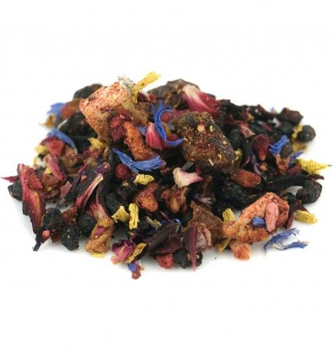 African Queen $6.38 A pure fruit infusion of dried apple, dried strawberry, dried currants, hibiscus petals, rosehip chips, calendula petals, and cornflower petals. Makes an unbelievable iced tea!