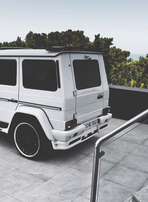 Tricked out white Mercedes G500