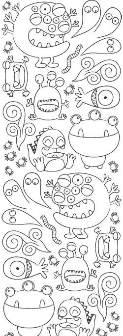 Monsters, doodle, drawing warm up, line