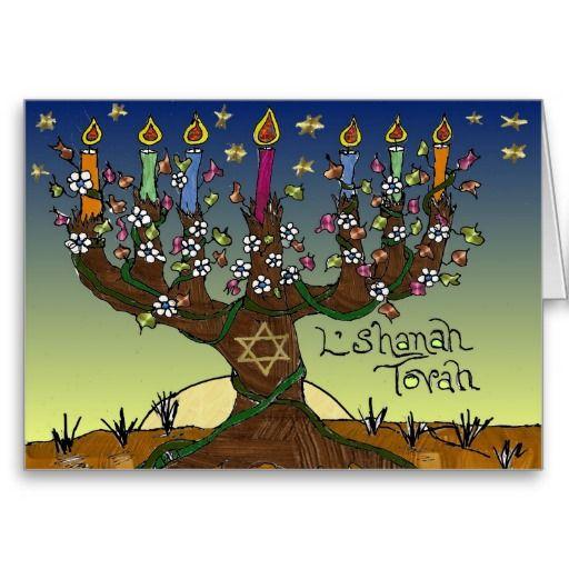 Rosh Hashanah L'Shanah Tovah Tree Of Life Menorah Greeting Card by Lee Hiller #Photography and #Design #Judaica