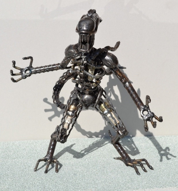 Hand Made ALIEN 12 Inches  Recycled Scrap Metal Art. $95.00, via Etsy.
