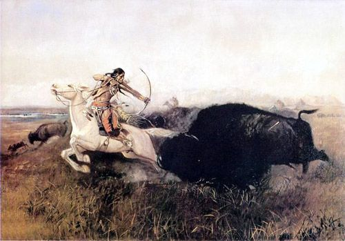 Indians Hunting Buffalo     by Charles M. Russell