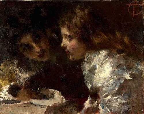 """Tranquillo Cremona (1837-1878)   """"Primo amore"""" 1872"""