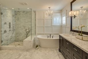 Traditional Master Bathroom with Flush, MTI - Victoria 4 Bathtub, Complex Marble Tile, Carrara White Marble Countertop