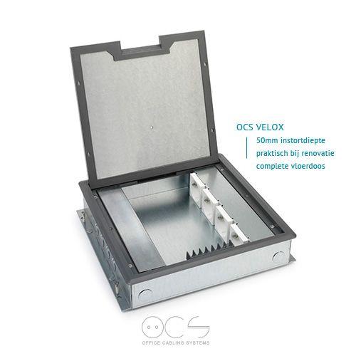 OCS Velox instortvloerdoos is de meest toegepaste vloerdoos in cementdekvloeren. Eenvoudig voorgemonteerd te bestellen onder één artikelnummer via www.ocsystems.nl