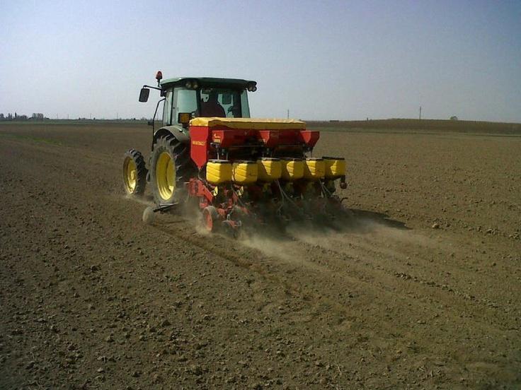 Seminatrice pneumatica MS 8200, serbatoio con rialzo direttamente dall'azienda Salvagnini di Cavarzere (VE).  Stagione di semina Marzo-Aprile 2012