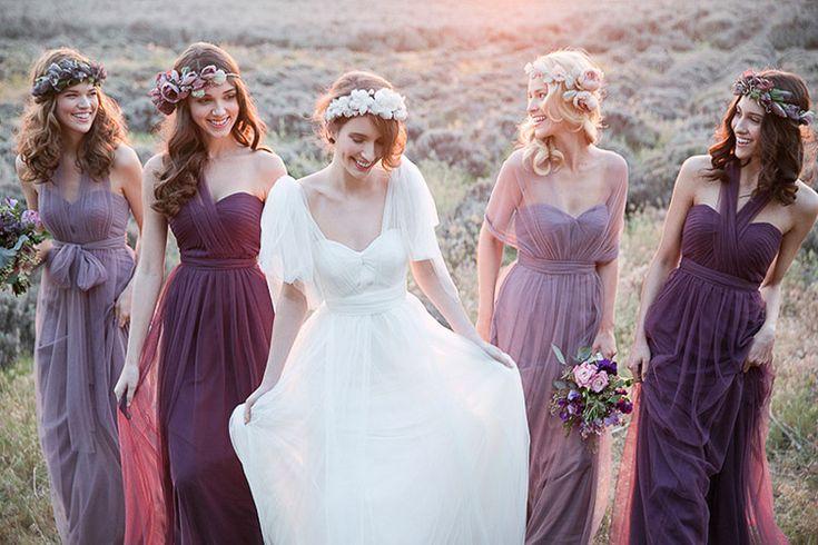Noiva + madrinhas roxo e lilás