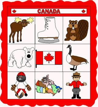 This is a great cut and paste paper craft project for learning about Canada.  It includes some Canadian animals, symbolic Canadian icons, the Canadian flag and a map of Canada.