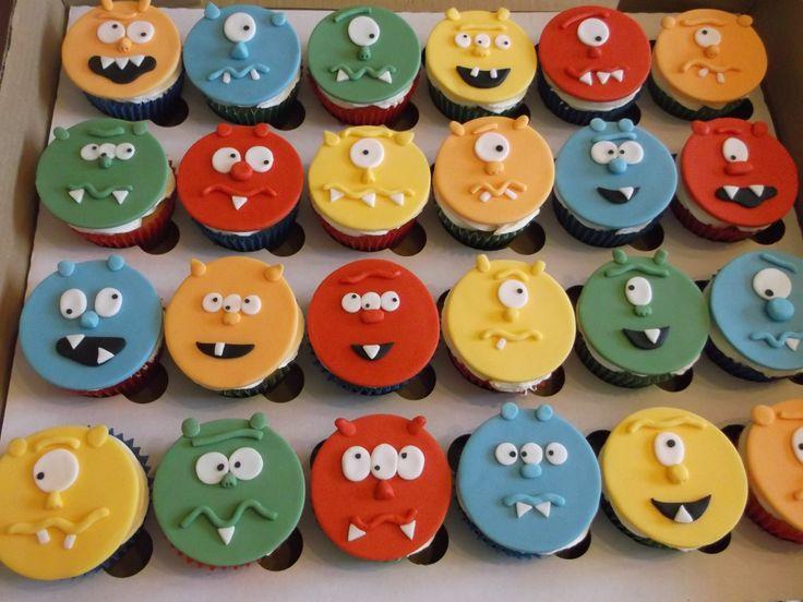 Monster face cupcakes x www.facebook.com/fireflycakes