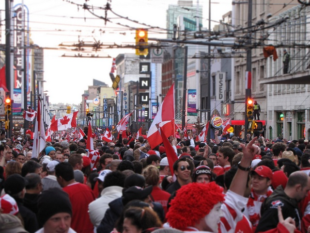 Crowd in downtown Vancouver Celebrating Canada's Hockey Victory by MikeWu, via Flickr