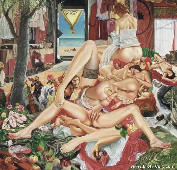 Sleeping Beauty : Erotic Painting by Anthony Christian.  1945 - present  Part of the Honey Potter Collection.