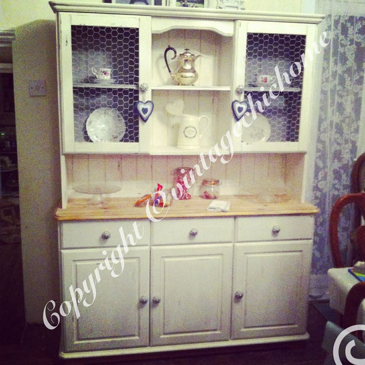 Large country style dresser grey chicken wire cupboards Annie Sloan old white Paris grey www.facebook.com/VintageChicHomeShabbyChicFurniture