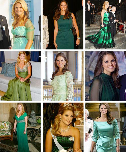 royalbluesecrets: Princess Madeleine in green