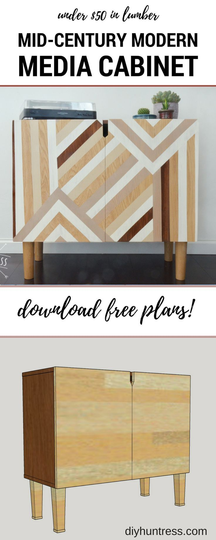 Build a modern media cabinet for $50 in lumber!