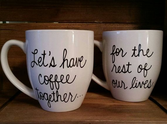 Let's have coffee together mugs, Proposal mug,Couple's engagement mug set,  engagement gift, wedding gift mug, engaged mugs, his and her mug