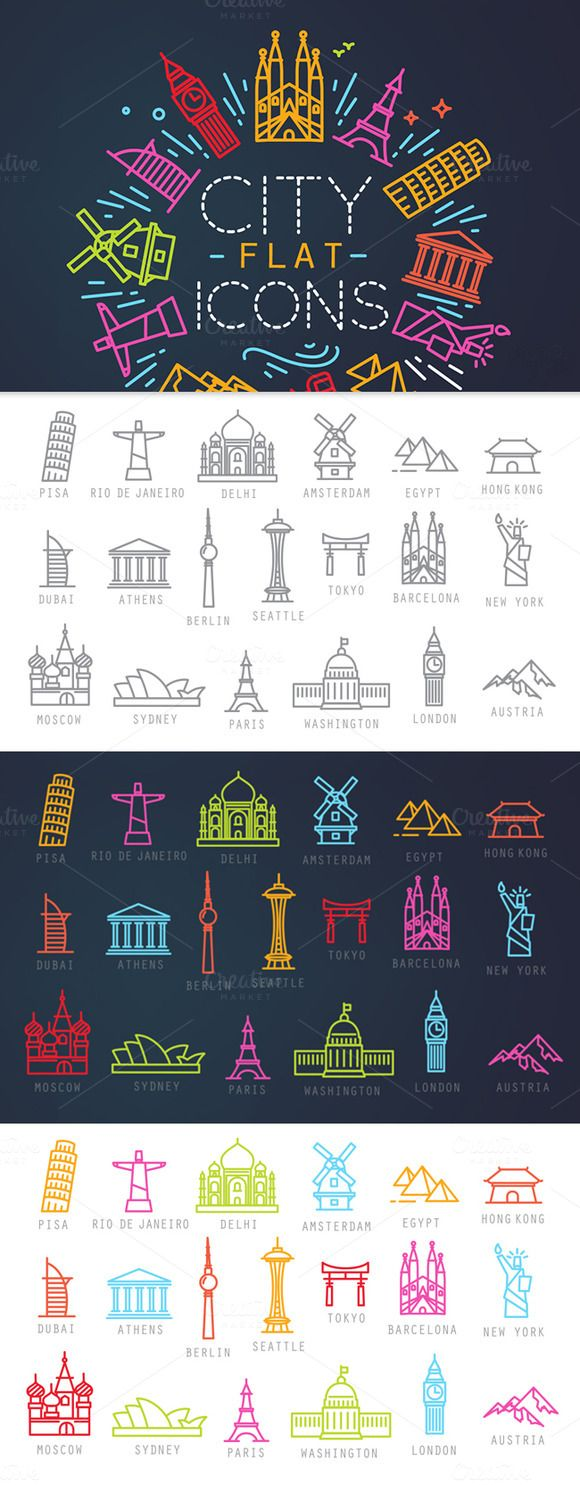 City flat icons by Anna on Creative Market