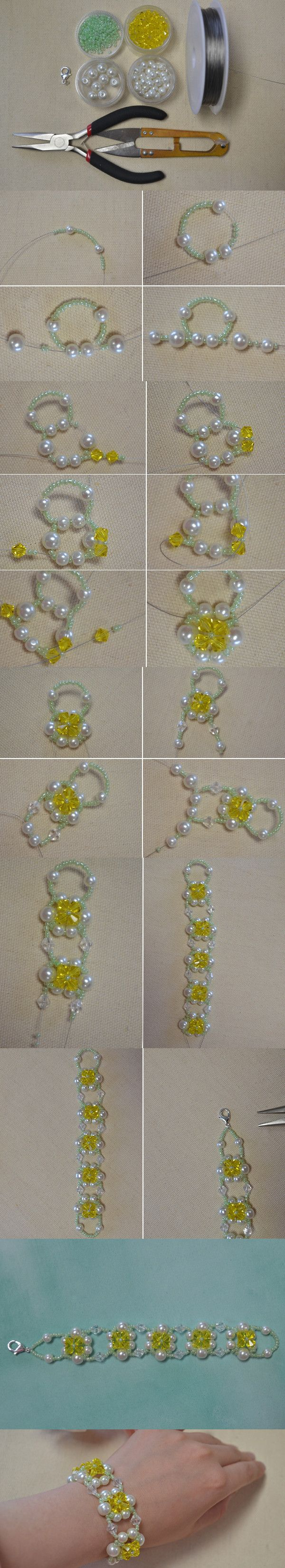 Beads are most popular in jewelry DIYs for its various usages. This beaded flower bracelet tutorial with glass beads,pearl beads and seed beads from LC.Pandahall.com  Este pint es el que más gusta y se guarda.