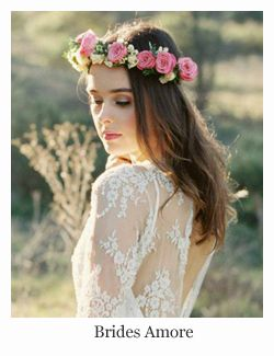 Wedding Hairstyles with Flowers ~ All down with pink flower hair wreath by  Brides Amore