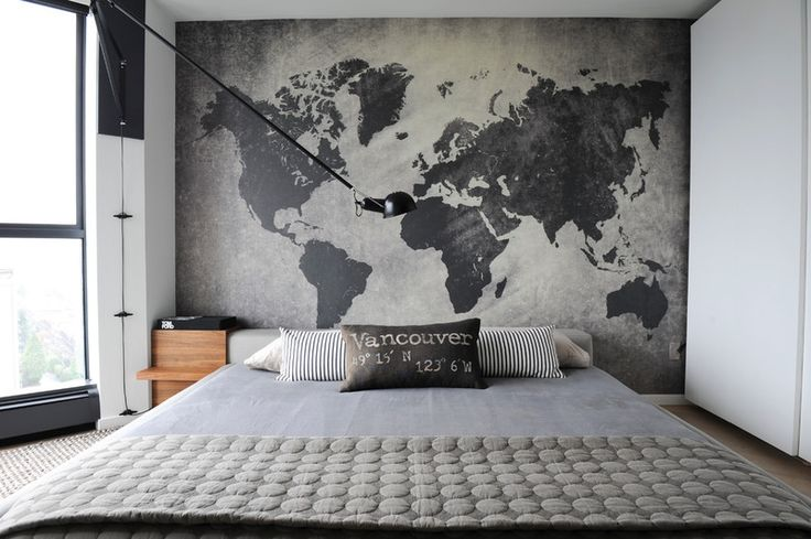 Contemporary Bedroom. Industrial for less. I like the world map in grey and dark grey.