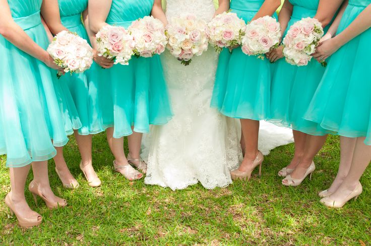 Aqua bridesmaids dresses with pink and white rose bouquets #love