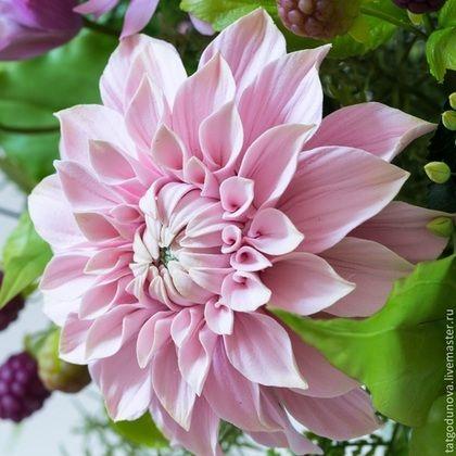 "Polymer clay handmade flowers by Godunova Tatiana. Букеты ручной работы. Ярмарка Мастеров - ручная работа Букет из глины ""Джорджина"".. Handmade."