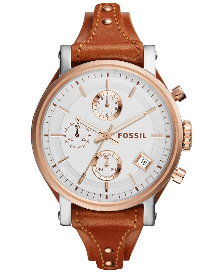 Fossil Women's Chronograph OBF Light Brown Saddle Leather Strap Watch 38mm ES3837 - Watches - Jewelry & Watches - Macy's