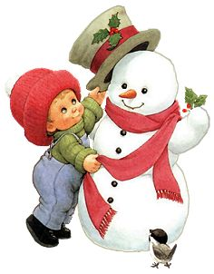 Ruth Morehead: Snowman with Boy Putting on Hat