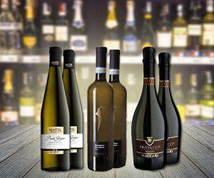 Sélection de 6 bouteilles de vins Blanc Italiens, légers et mousseux : 2 bouteilles de Brut Prosecco Premium DOC, 2 bouteilles de Pinot…