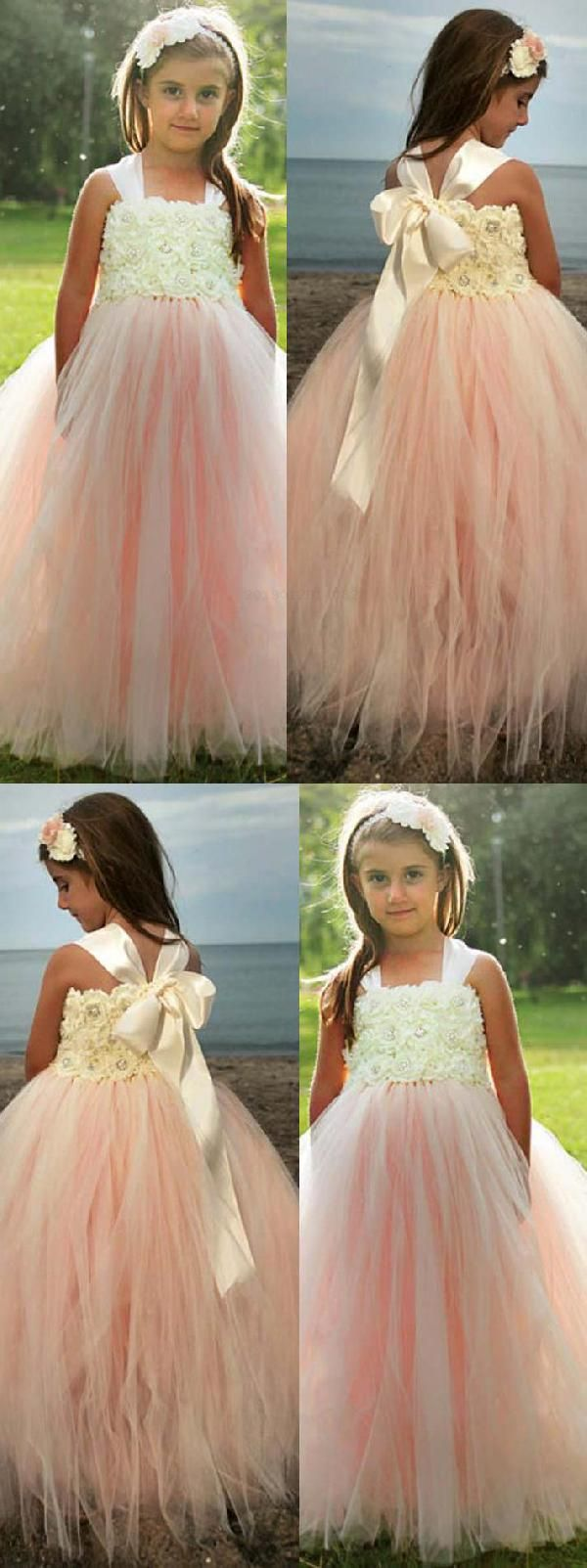 Discount Magnificent Bridesmaid Dresses A-Line Adorable A-line Pink Long Flower Girl Dress With Ribbon