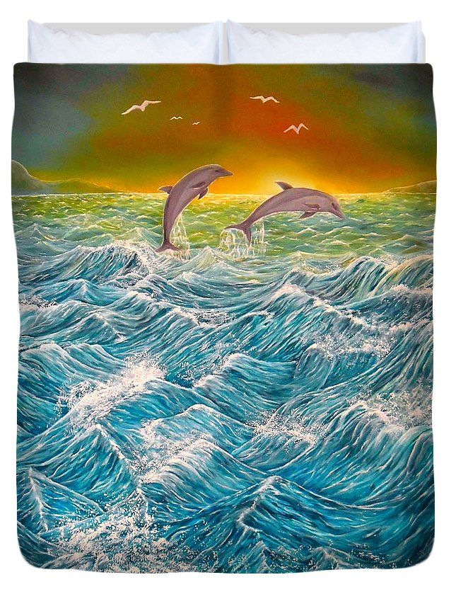 Duvet Cover,  home,accessories,bedroom,decor,cool,unique,fancy,artistic,trendy,unusual,awesome,beautiful,modern,fashionable,design,for,sale,items,products,ideas,blue,dolphins,ocean,waves,sunset
