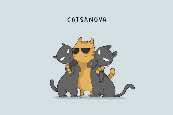 'Edward Scissorpaws', 'Catsanova', Illustrated Cat Types Based On Their Habits - DesignTAXI.com