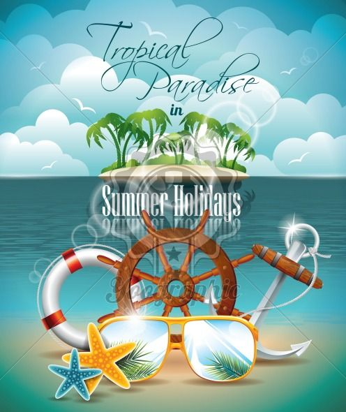 Vector Summer Holiday Flyer Design with palm trees and shipping elements on tropical background. Eps10 illustration. - Royalty Free Vector Illustration