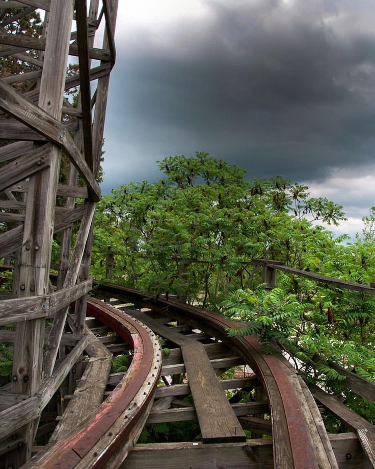 Stormy skies loom over the abandoned Geauga Lake Amusement Park in Cleveland, Ohio.