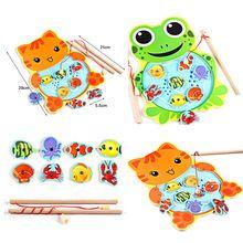Brinquedos do bebê Crianças Jogo De Pesca Magnética Placa Sapo Dos Desenhos Animados Do Gato De Madeira Jigsaw Puzzle Brinquedos Educativos para Crianças(China (Mainland))