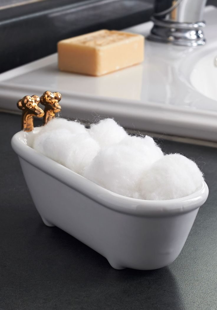 Tubs of Fun Dish. Your bubbly sense of style spills over into home decor - and your powder room is no exception, with the addition of this adorable tub-shaped dish. omg @Deirdre Cunningham this is a need!