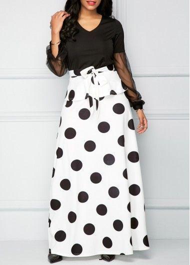 e86e47d2d64478 Mesh Panel V Neck Top and Polka Dot Skirt