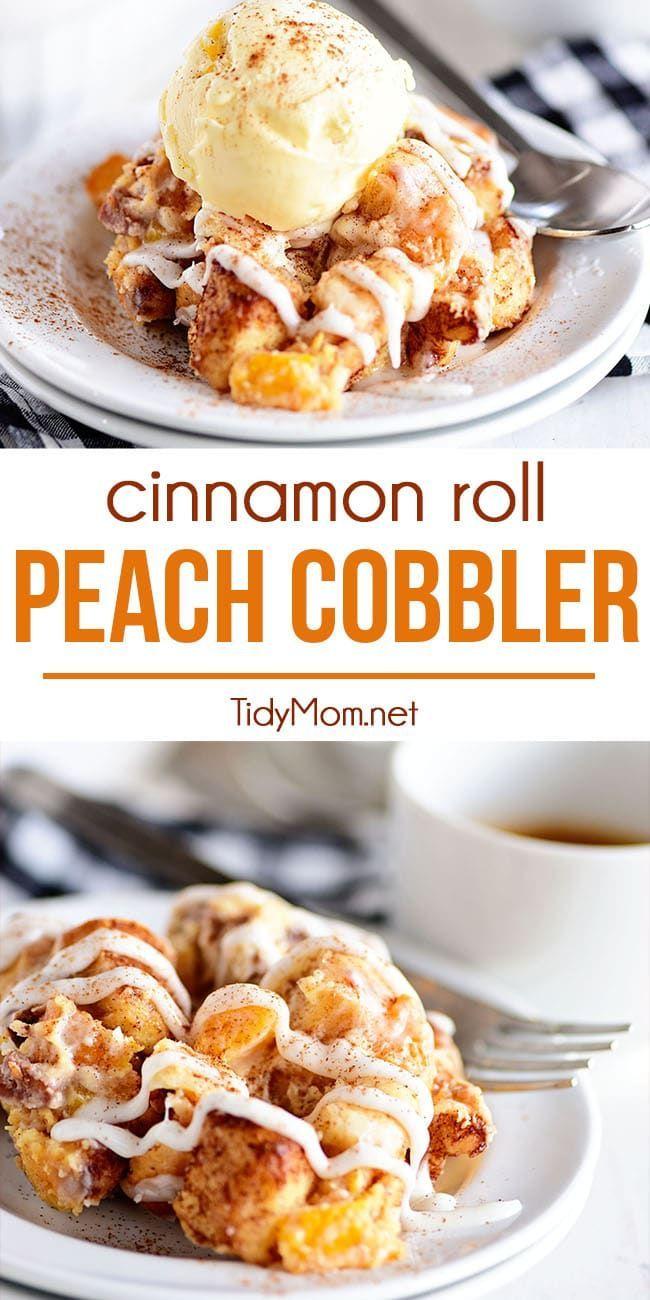 Cinnamon Roll Peach Cobbler
