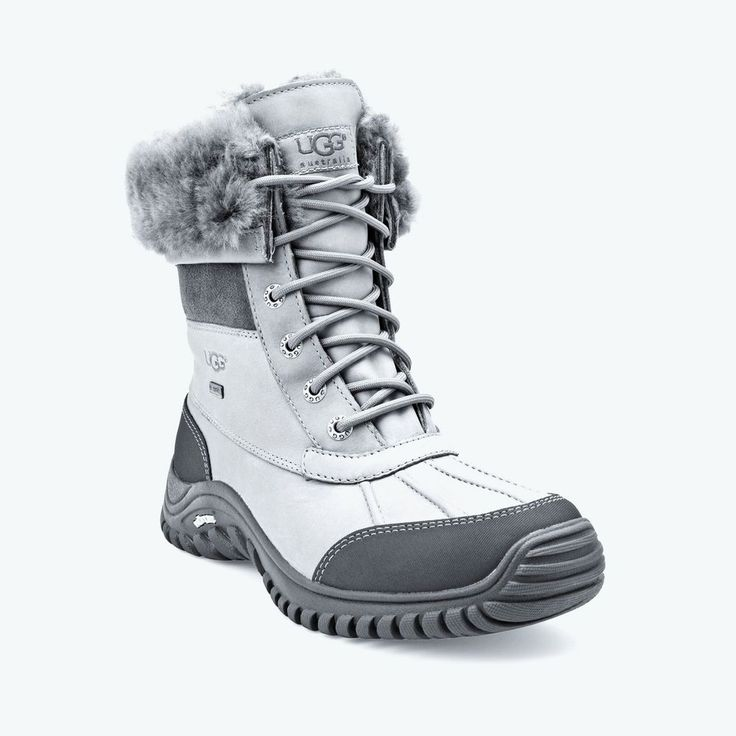 Ugg Adirondack II Shearling Lined Winter Snow Rain Boots Gray Leather Size 5.5M #UGGAustralia #WinterBoots #Casual
