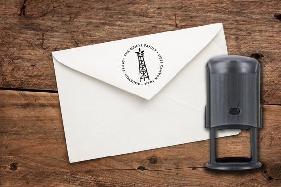 1.5 x 3 or 1.63 Oil Derrick Rig Custom Address Stamp This stamp would look great on your letters! This is a self-inking stamp. Use your own ink