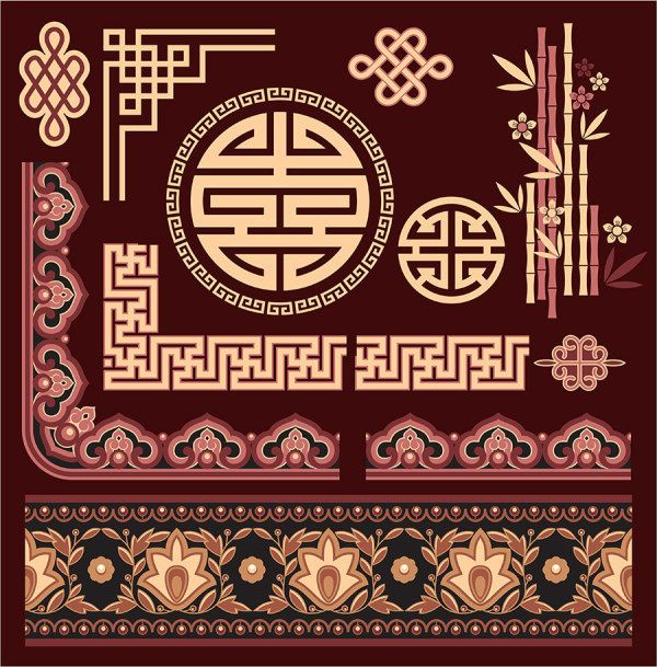 Chinese style floral decorative elements 02 - FreeDesignFile.com