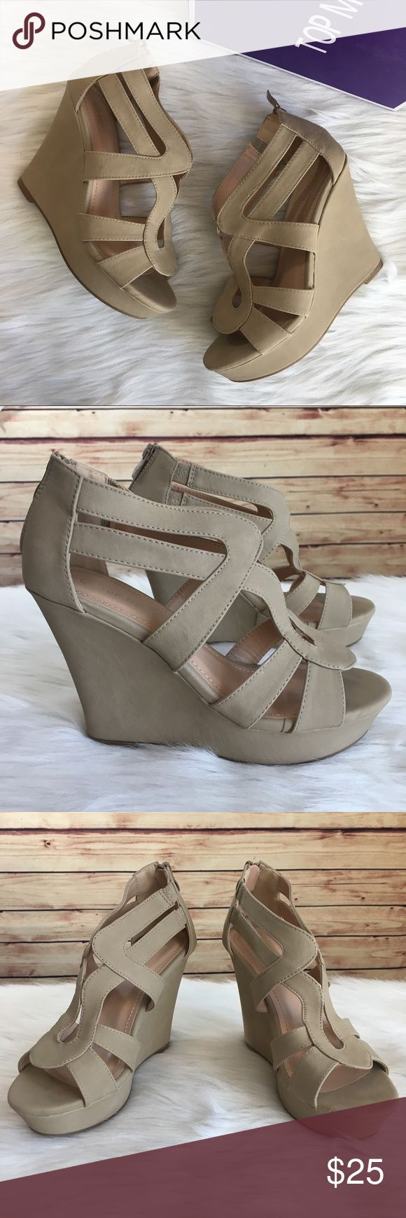 Top Moda beige wedges Brand new in box / Top Moda 'Lindy' wedges Size 7.5, fits true to size Back zipper closure  *Color may vary in diff lighting, color is a beige *Shoes show minor shelf wear, one has a tiny greyish black mark on the inside of the wedge  *Comes with shoebox & will be packaged in a usps shipping box.  ✨Build a bundle with all your likes and use the automatic bundle discount -or- make me a bundle offer✨ Top Moda Shoes Wedges