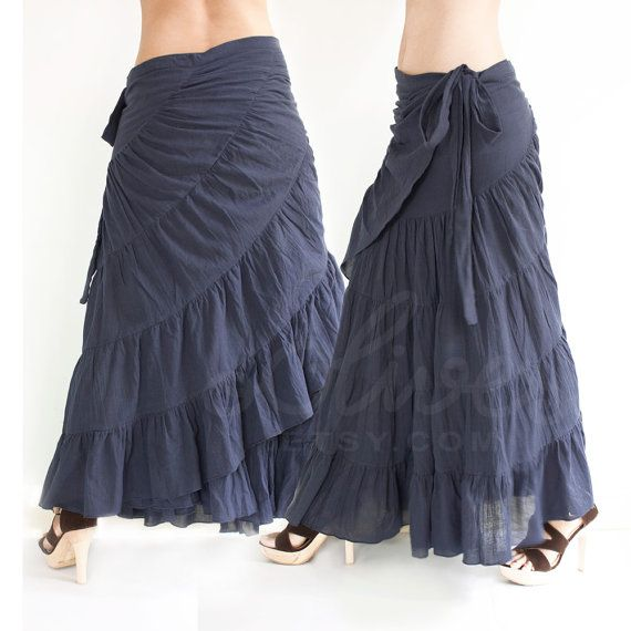 Tie Waist Cotton Maxi Wrap Skirt, Free Size, Plus Size Skirt in Dark Blue