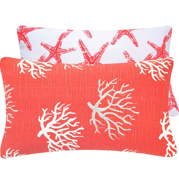 star fish coral throw pillow cover 12x20 lumbar bright sea life beach home decor premier - Coral Decorative Pillows