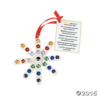 """""""Colors of Faith"""" Craft Stick Snowflake Ornament with Card Craft Kit - Oriental Trading"""