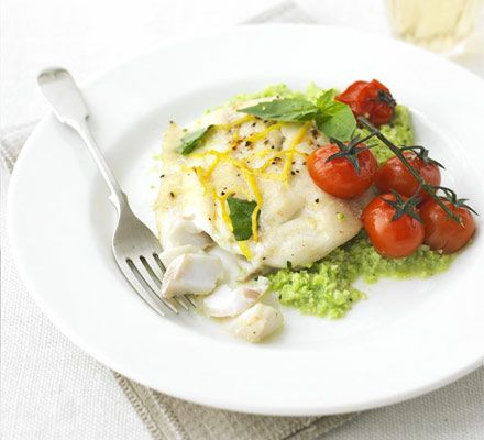 Lemon cod with basil bean mash - A heart-healthy supper that makes the perfect midweek meal for two