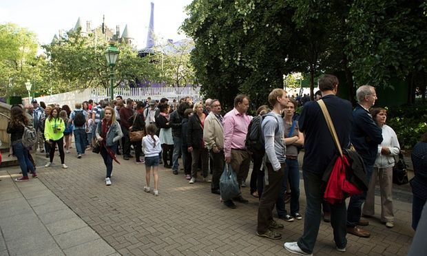 Theratre-goers queue for tickets at last year's Edinburgh fringe. Many performers find the festival extremely stressful.