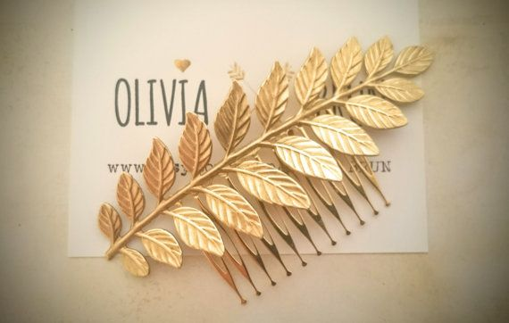 Laurel Leaf Hair Comb Gold Leaf Hair Comb Bridal Hair Comb Grecian Hair Wedding Hair Bridal Headpiece Hair Accessories   Beautiful highly detailed raw