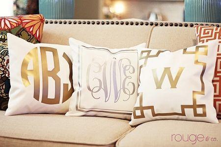 Monogrammed Metallic Pillow. LOVE